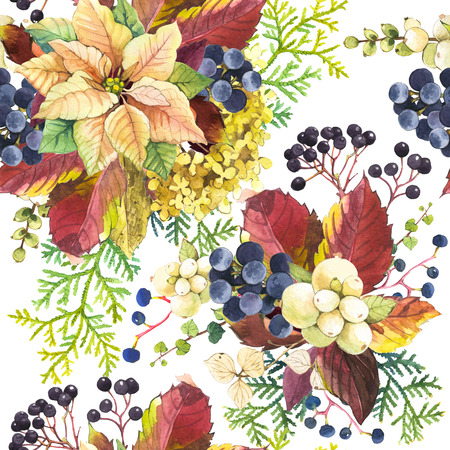 Floral pattern with watercolor realistic flowers and plants: snowberry, poinsettia and wild berries. Stock Photo