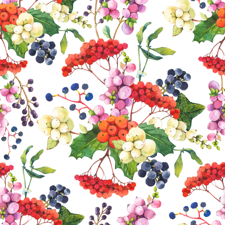 berry: Floral pattern with watercolor realistic berries: snowberry, holly, mistletoe and wild grapes.