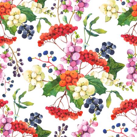 houx: motif floral avec aquarelle baies r�alistes: snowberry, houx, gui et raisins sauvages.
