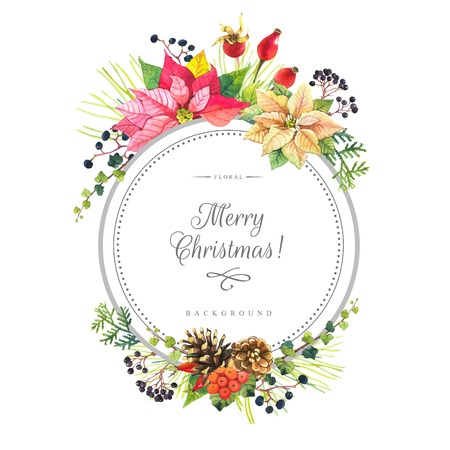 winter flower: Beautiful christmas bouquet and headline with winter flowers and plants on white background. Composition with berries, poinsettia, holly and pinecone. Round frame with flowers.