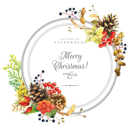 linden: Beautiful christmas bouquet and headline with winter flowers and plants on white background. Composition with berries, poinsettia, rowan, linden and hydrangea. Round frame with flowers. Stock Photo