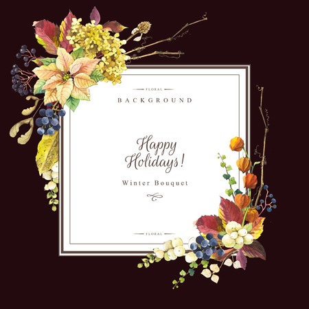 berry: Beautiful christmas bouquet and headline with winter flowers and plants on black background. Composition with berries, poinsettia, cape gooseberry, snowberry and hydrangea. Square frame with flowers.