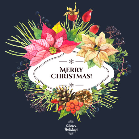 feestelijk: Beautiful christmas bouquet and headline with winter flowers and plants on black background. Composition with berries, poinsettia, holly and pinecone.
