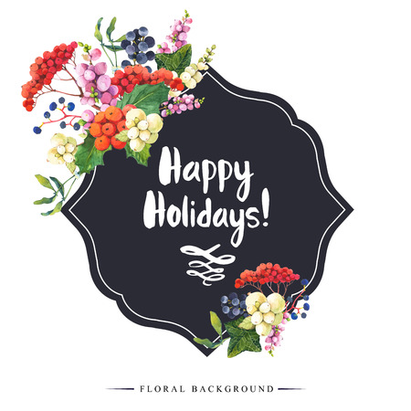 guelder: Natural floral pattern on a white background. Watercolor realistic berries: snowberry, holly and wild grapes. Happy holidays. Stock Photo