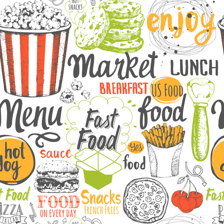 Vector Illustration with funny food lettering and labels on white background. Decorative elements for your packing design. Multicolor decor.