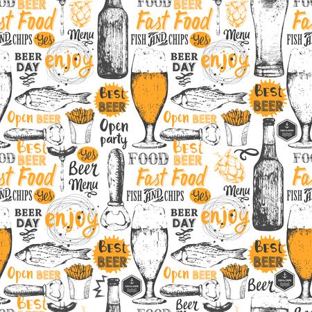 ilustracion: De fondo sin fisuras con el conjunto de la cerveza. menú de pub. De botella y un vaso de cerveza en el estilo de dibujo. Ilustración del vector con etiquetas de cerveza. Vectores