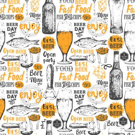 beer festival: Seamless background with beer set. Pub menu. Bottle and glass of beer in sketch style. Vector illustration with beer labels.