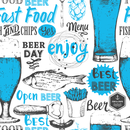 snack: Seamless background with beer set. Pub menu. Bottle and glass of beer in sketch style. Vector illustration with beer labels.