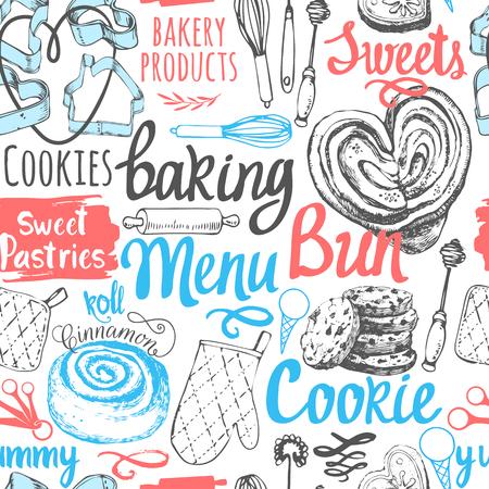 galletas: Ilustración del vector con las letras de hornear divertida y etiquetas sobre fondo blanco. Elementos decorativos para el diseño de su embalaje. menú modelo multicolor.
