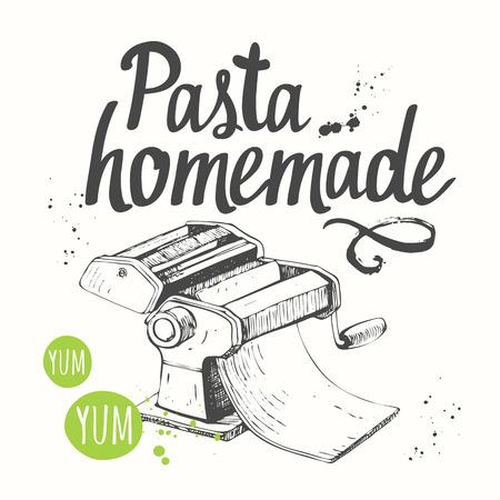 italian tradition: Italian homemade traditional pasta machine on white background. Illustration