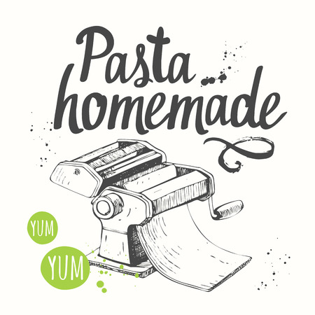 Italian homemade traditional pasta machine on white background. Vectores