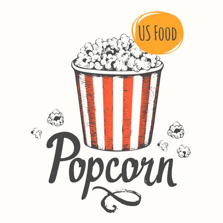 palomitas de maiz: diseño del bosquejo. bocado cine. Dibujado a mano la comida rápida.