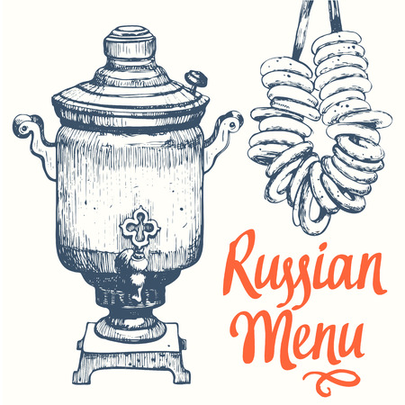 samovar: Russian food in the sketch style. Slavic traditional products. Russian menu.