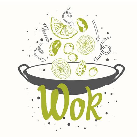cartel boceto con wok. Divertido etiquetas asiático símbolos de comida rápida.