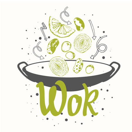 Sketch poster with wok pan. Funny labels asian fast food symbols. Illustration