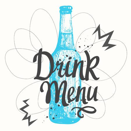 bebidas alcohÓlicas: Botella de cerveza en el estilo de dibujo para el menú de pub. Ilustración del vector con las bebidas alcohólicas. etiquetas de cerveza. Vectores