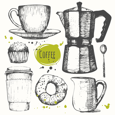 sketch drawing: Set of hand drawncup of coffee, geyser coffee, donut, cupcake, milk. Black and white sketch of coffe.