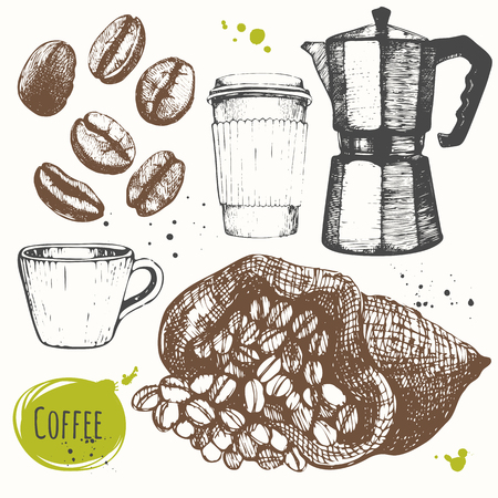 Set of hand drawncup of coffee, geyser coffee, coffee beans. Black and white sketch of coffe.