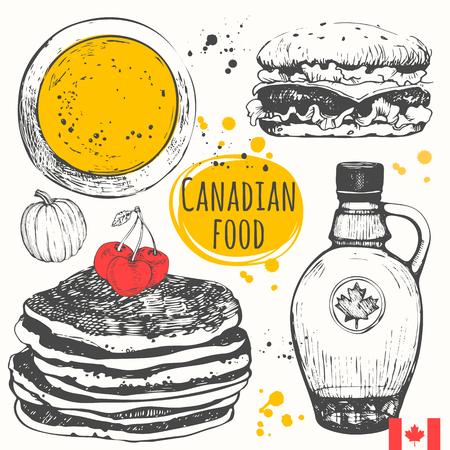 hot cakes: productos tradicionales americanos. Ilustración del vector de cocina étnica: sopa de calabaza, panqueques, hamburguesas, jarabe de arce.