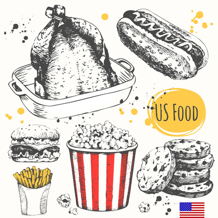 potatoes: American traditional products. Vector illustration of ethnic cooking: burger, baked chicken, french fries, popcorn, american cookies.