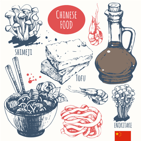 Asian traditional products. Vector illustration of ethnic cooking: noodles, soy sauce, tofu, shimeji, enokitake.