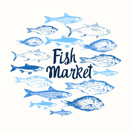 contemporary taste: Round composition. Hand drawn fish. Blue design. Fish Market. Poster for seafood menu.