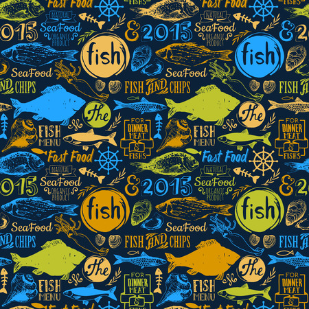 mariscos: patrón de menú. Ilustración del vector con las letras marisco divertida y etiquetas sobre fondo negro. Elementos decorativos para el diseño de su embalaje. Multicolor.