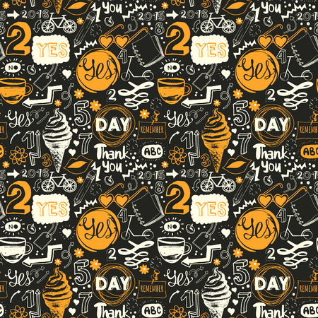 cream tea: Menu pattern. Vector Illustration with funny food lettering and labels on black background. Decorative elements for your packing design. Multicolor.