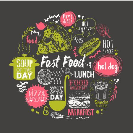 Composición ronda con símbolos de comida rápida. patrón de menú. Ilustración del vector con elementos decorativos para el diseño de su embalaje. decoración multicolor.