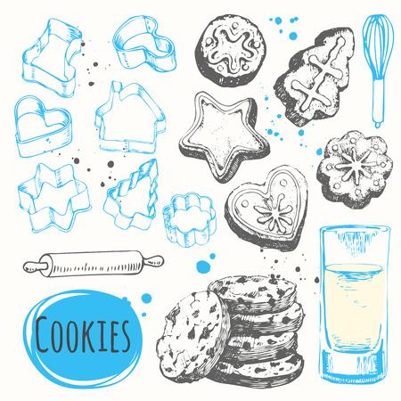 galleta de chocolate: Conjunto de galletas de Navidad. etiquetas divertidas con galletas hechas en casa. Vectores