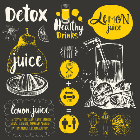 Vector funny illustration with natural juices drinks: smoothies, lemonade and kitchen equipment. Detox. Healthy lifestyle.