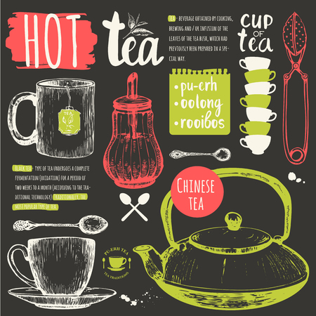 traditions: Homemade tea party. Cup, sugar bowl, spoon and teapot in sketch style. Traditions of tea time. Decorative elements for your design.