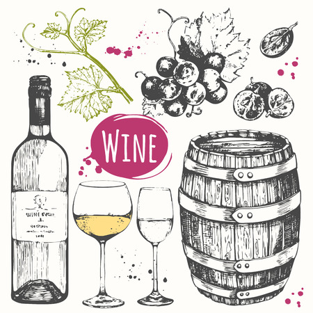 Vector illustration with wine barrel, wine glass, grapes, grape twig.  Classical alcoholic drink. Çizim