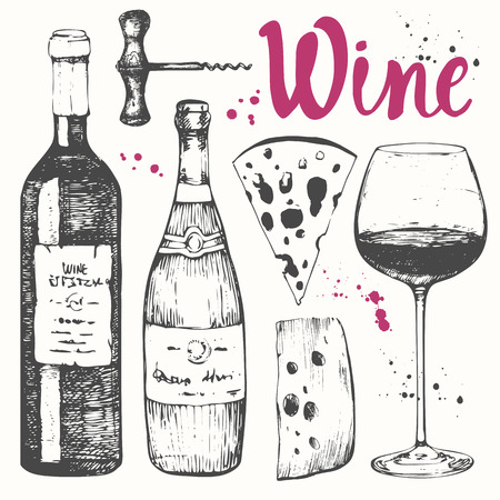 Vector illustration with wine glass, corkscrew, bottle, champagne, cheese. Classical alcoholic drink. Vettoriali