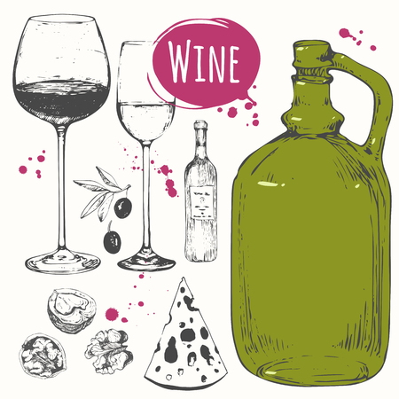 vector illustration: Vector illustration with wine glass, old wine bottle, cheese, walnuts, olives. Classical alcoholic drink.