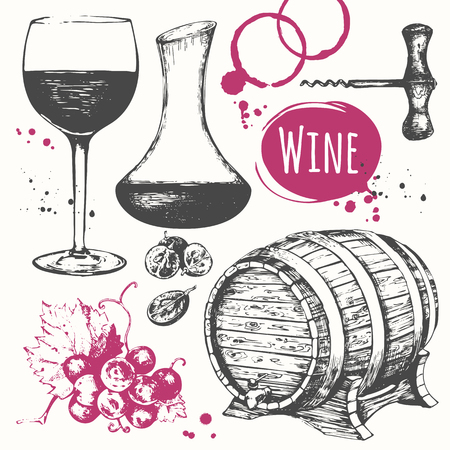 Vector illustration with wine barrel, wine glass, grapes, grape twig, carafe wine.  Classical alcoholic drink.