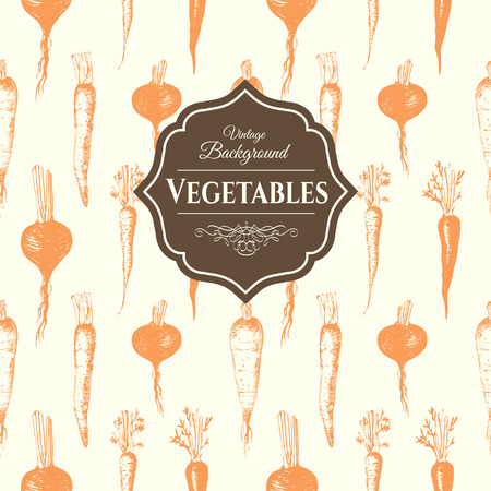 root vegetables: Fresh organic food.  Root vegetables background.  Vintage style. Orange pattern.