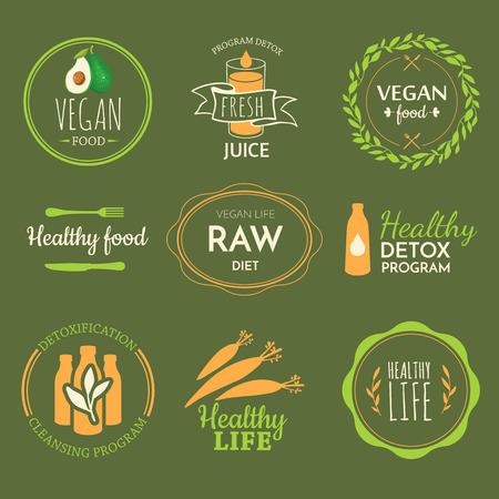 生の食品ダイエット。健康的なライフ スタイルと適切な栄養。ベクトル ラベル。ロゴをデトックスします。  イラスト・ベクター素材