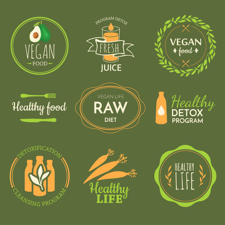 raw food: Raw food diet. Healthy lifestyle and proper nutrition. Vector label. Detox logo. Illustration