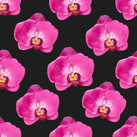 inflorescence: Floral pink pattern with watercolor realistic flowers on blackbackground for your design and decor. Stock Photo