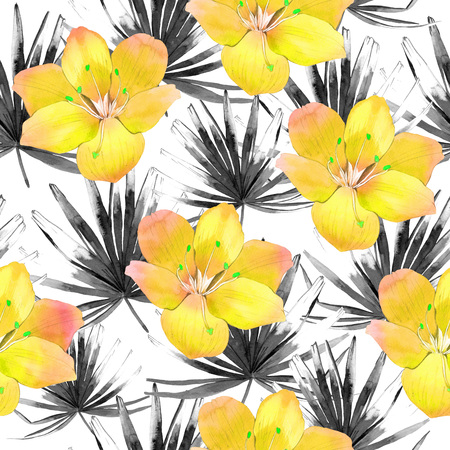 graphic pattern: Beautiful pattern with tropical black leaves and yellow flowers on white background. Summer pattern with palm leaves.