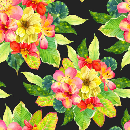 tropical plants: Beautiful bouquet with tropical flowers and plants on black background. Composition with dahlia, lily, begonia, palm and croton leaves.