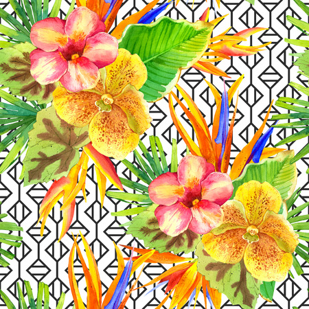 tropical plants: Seamless background with watercolor tropical flowers. Beautiful tropical plants on black and white background with geometric pattern. Composition with lily, strelitzia, palm and begonia leaves and orchid.