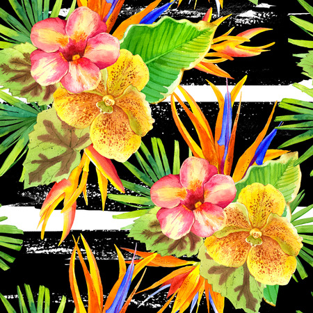 strelitzia: Seamless background with watercolor tropical flowers. Beautiful tropical plants on a striped black and white background. Composition with lily, strelitzia, palm and begonia leaves and orchid.