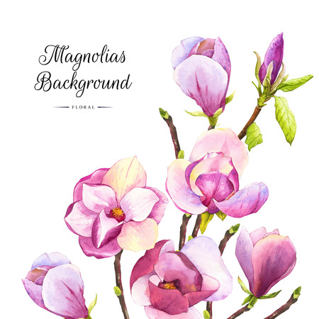 Floral pattern with watercolor realistic flowers on white background for your design and decor.