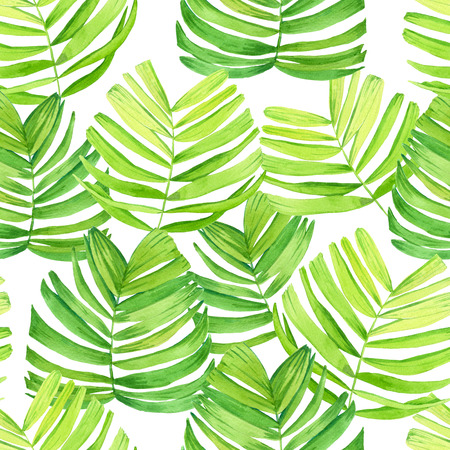 Seamless background with watercolor tropical leaves. Beautiful pattern with tropical green leaves on white background. Summer composition with palm leaves. Stockfoto
