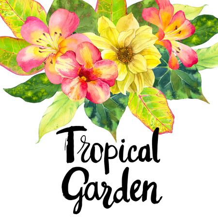 tropical garden: Illustration with realistic watercolor flowers. Tropical garden. Beautiful bouquet with tropical flowers and plants on white background. Composition with dahlia, lily, begonia, palm and croton leaves. Stock Photo