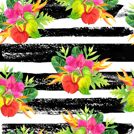 strelitzia: Beautiful pattern with tropical flowers and plants on striped black and white background. Composition with palm leaves, anthurium and strelitzia.