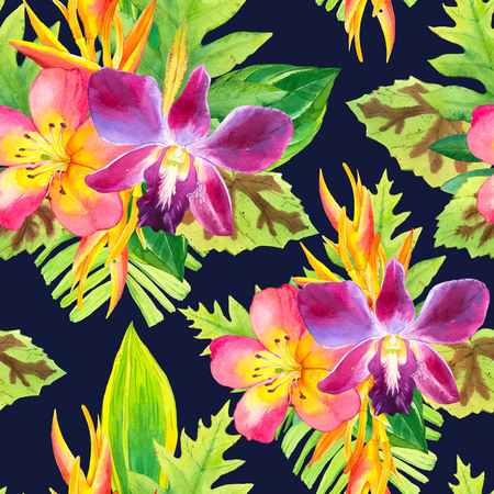 tropical flowers: Beautiful bouquet on a striped black background. Composition with strelitzia, orchid, palm and begonia leaves.
