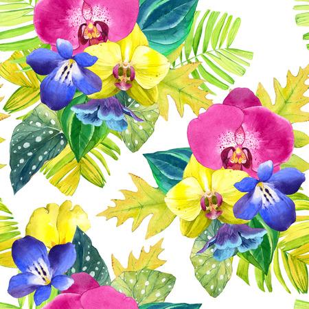 azul: fondo transparente con flores tropicales acuarela. Ramo con plantas tropicales sobre fondo blanco y negro con el modelo geométrico. orquídeas, begonias y de palma hojas amarillas y rosadas, flores azules.